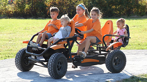 Pedal Carts are a fun family activity at Ellms Family Farm in Saratoga.