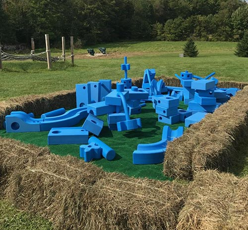 Large Blue Building Blocks in field