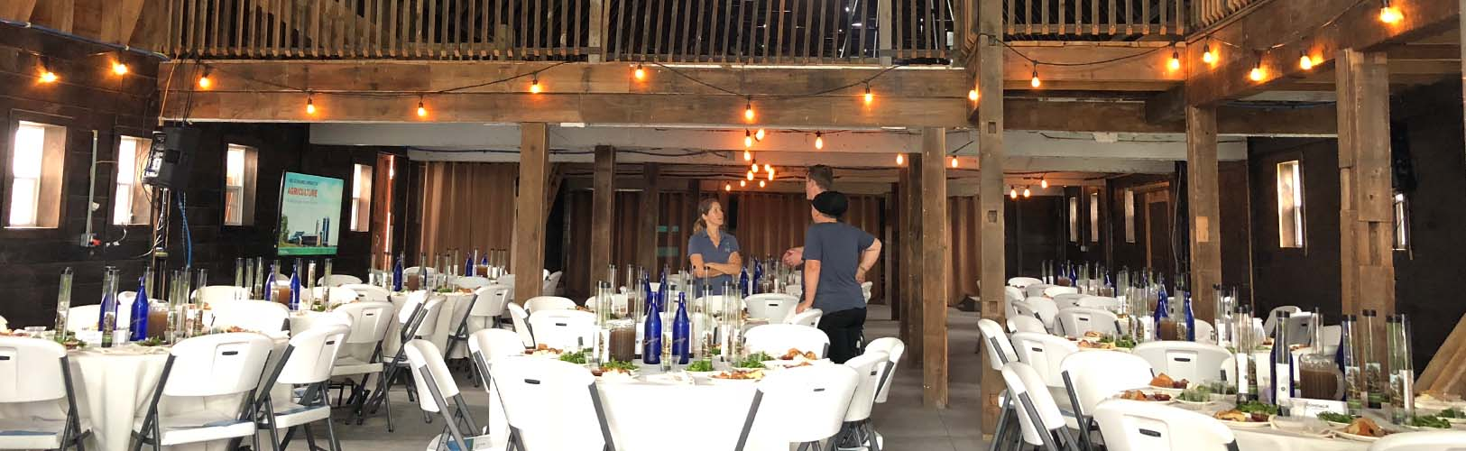 Inside the wedding barn