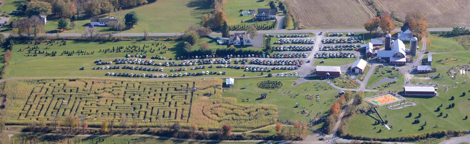 Overhead view of Ellms Family Farm and Corn Maze