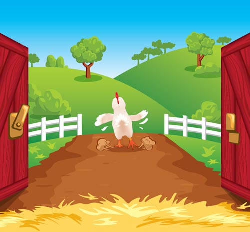 Cartoon of chicken leaving the barn - cropped