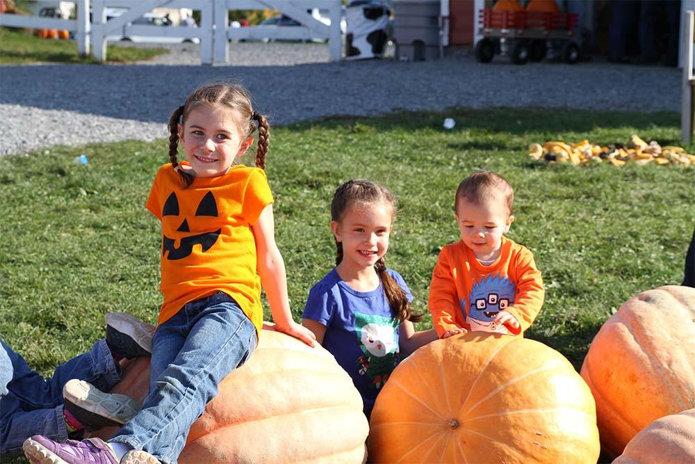 kids sitting on large pumpkins
