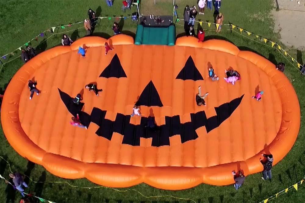 pumpkin shaped jumping pillow
