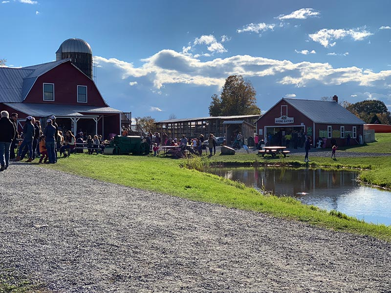 Families gathered outside barn at Ellms Farm