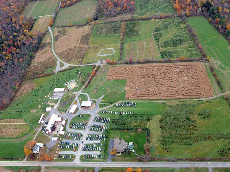 Aerial view of corn maze in Ballston Spa