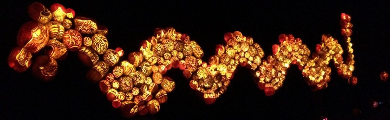 dragon made of jack-o-lanterns at Ellms Family Farm